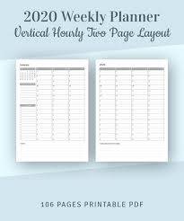 Hourly Planner 2020 Weekly Planner 2020 With Calendar Hourly Planner Printable Template Hourly Agenda Printable Schedule Planner A4 A5 Planner Insert Pdf
