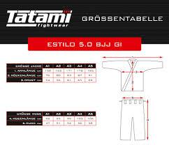Tatami Jiu Jitsu Gi Size Chart