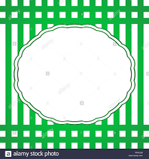 Vintage White Frame With Green Border On A Striped