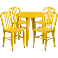 30 round yellow metal indoor outdoor table set with 4 vertical slat back chairs