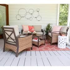 thompson 4 piece wicker patio conversation set with tan cushions