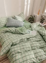 mint green lattice duvet cover set 100