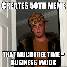 creates 50th meme That much free time = business major - Scumbag ... via Relatably.com