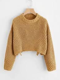 Vented Hem Chunky Knit Crop Jumper | Укороченный <b>свитер</b> ...