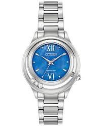 citizen eco drive watches macy s citizen eco drive women s l sunrise diamond accent stainless steel bracelet watch 33mm em0510