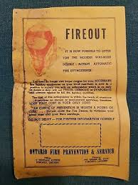 fireout glass fire extinguisher advertisement ontario fire prevention vintage