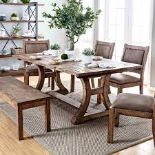 furniture of america matthias industrial rustic pine dining table brown
