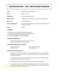 Restaurant Manager Resume Template Amazing Restaurant Manager Resume Top Result Restaurant Assistant Manager
