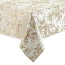 waterford linens marcelle 90 inch round tablecloth in ivory from bed bath beyond at com