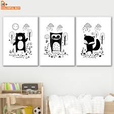 colorfulboy fox bear wall art print canvas painting nordic poster black white animal wall pictures for on black and white bear wall art with colorfulboy fox bear wall art print canvas painting nordic poster