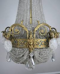 19th century french bronze and crystal beaded chandelier 6