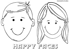 face coloring pages printable girl page smiley faces free happy