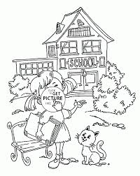 girl and school coloring page for kids back to school coloring pages printables free