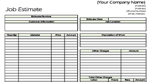 Cost Estimate Form Estimation Sheet Omfar Mcpgroup Co