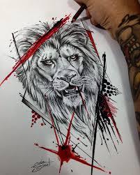 Geometrické Tetování Lev