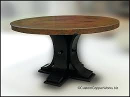 round copper top dining table oak wood pedestal base 56 inch full size