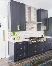 Navy blue cabinets, Stone Textiles Kitchen