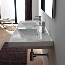 modern bathroom double sinks. Scarabeo 3006 By Nameek\u0027s ML Rectangular Double White Ceramic Drop In Or Wall Mounted Bathroom Sink - TheBathOutlet Modern Sinks