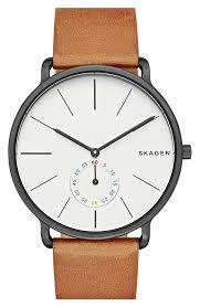 skagen hagen leather strap watch 40mm nordstrom