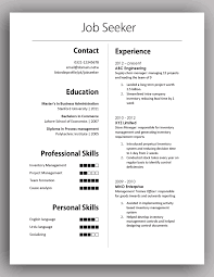 One Page Professional Resume Template One Page Resume Template