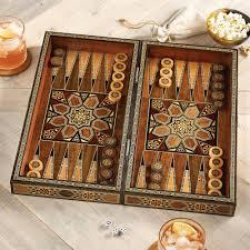 mosaic wood inlaid backgammon set mesopotamian match