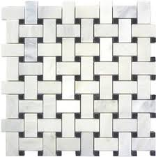 marble basketweave tile. White Marble Basketweave Mosaic Tile Black Dots 1 X 2 Polished S