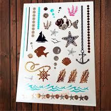 One Piece золотая татуировка дети Starfish якорь пиратский морской руль хлам чайки Shell Aj53