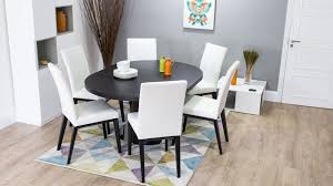 real leather and dark wood extending dining set