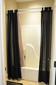 bathroom, Black Accents Curtain Color For Bright Bathtoom Interior With  Charming Led Lights Plus Cozy