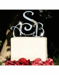 monogrammed wedding cakes. swarovski crystal monogram cake topper by expressions - toppers monogrammed wedding cakes
