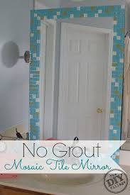 DIY no grout mosaic tile mirror. This is perfect for an apartment!  #SeriouslyStrong