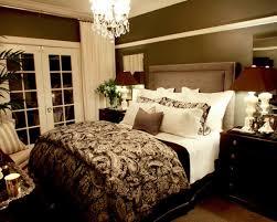... sleek romantic brown bedroom paint feat damask bedding also mini  crystal chandelier ...