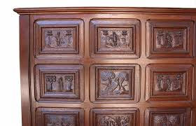 antique english carved oak wall panel