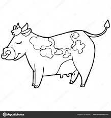 Cartoon Schattig Vee Of Koe Kleurplaat Pagina Vector Stockvector