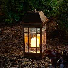 outdoor candles lanterns and lighting. II Solar Mission Lantern Illuminated By 2 High Performance Warm White LEDs In The Top And One Amber LED Pillar Candle : Outdoor Post Lights Candles Lanterns Lighting