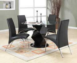 Pedestal Dining Table Set Coaster Ophelia 5 Piece Round Glass Black Zigzag Pedestal Dining Set