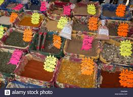 Spices At Market Stall Cours De Selaya Nice Alpes Maritimes Stock