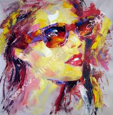 original painting girl with fashion sunglasses