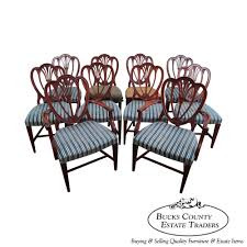 hepplewhite shield dining chairs set:  antique s mahogany set of  hepplewhite sweetheart shield back dining chairs