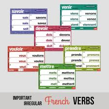 French Conjugation Chart Dry Erase French Verb Charts Set Of 3 French Teachers