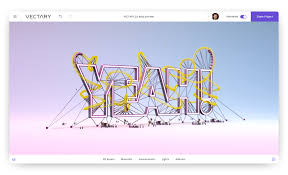 vectary 3d typography text modeling design
