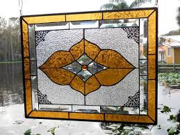 vintage look stained glass window panel neutral champagne beveled glass transom window