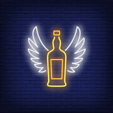 whiskey bottle with angel wings neon sign