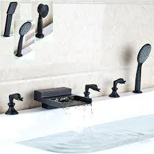 delta two handle ba luxury oil rubbed bronze widespread bathtub faucet deck mounted waterfall roman tub filler with in shower