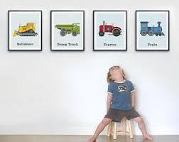 toddler room wall art set of four prints transportation print set big boys room boys wall art boys truck decor tractor wall art on toddler boy room wall art with boy wall art etsy