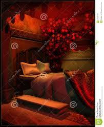 Red Light Vintage Costume Royal Bedroom In Red Light Stock Illustration Illustration