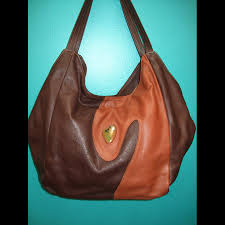 2 tone brown leather satchel with green turquoise stone handbag