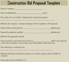 construction bid proposal template. bid formats Canreklonecco