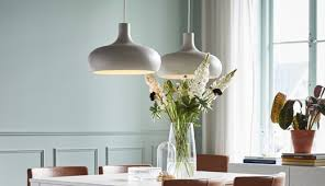 Image Stairwell Two Curved VÄxjÖ Pendant Lamps In Beige Hanging Above Dining Table Ikea Ceiling Lights Lamps Ikea