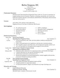 Operating Room Registered Nurse Resume Sample